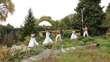 Alvin Ailey American Dance Theater in a reimagining of Alvin Ailey's Revelations at Wave Hill Public Garden and Cultural Center