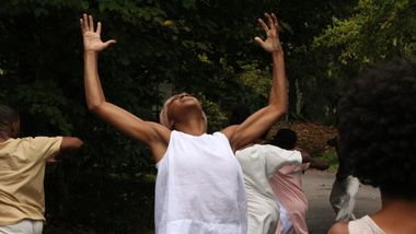 Alvin Ailey American Dance Theater's Corrin Rachelle Mitchell in Testament by Matthew Rushing Clifton Brown and Yusha-Marie Sorzano at Wave Hill Public Garden and Culture Center