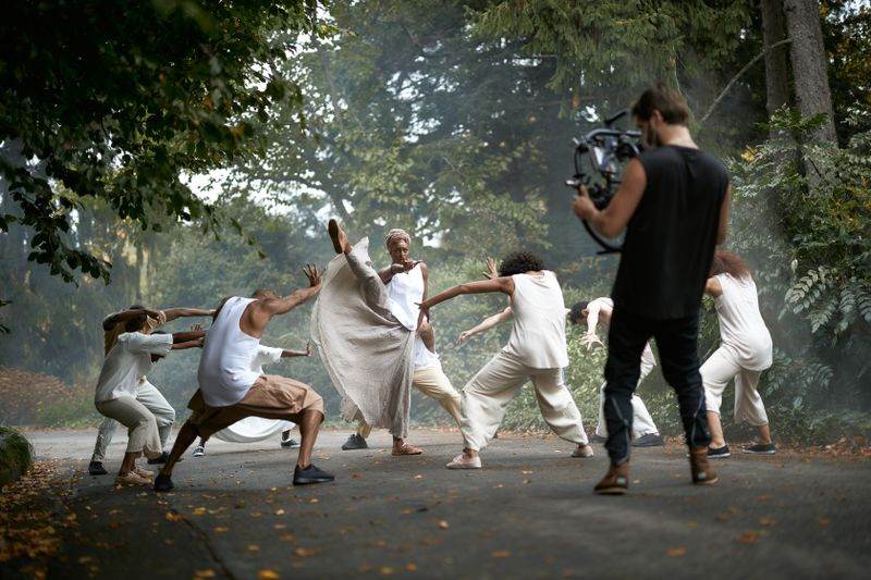 Filming Alvin Ailey American Dance Theater in Testament by Matthew Rushing Clifton Brown and Yusha-Marie Sorzano at Wave Hill Public Garden and Culture Center