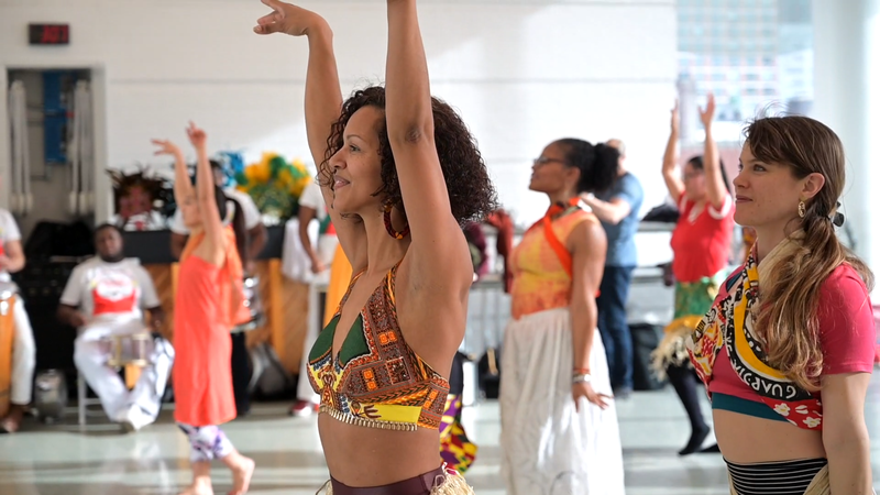 Danielle Lima leads Celebrating Brasilian Carnaval Workshop at Ailey Extension. Photo by Coal Rietenbach