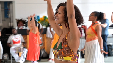 Danielle Lima leads Celebrating Brasilian Carnaval Workshop. Photo by Coal Rietenbach