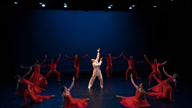 Alvin Ailey American Dance Theater's Clifton Brown and The Ailey School students in the 'Cherry Red' excerpt from Alvin Ailey's For Bird - With Love