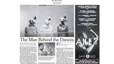 NewYorkTimes_AAADT_AlvinAiley_AileyDocumentary_Feature_Review_Print_7.23.21