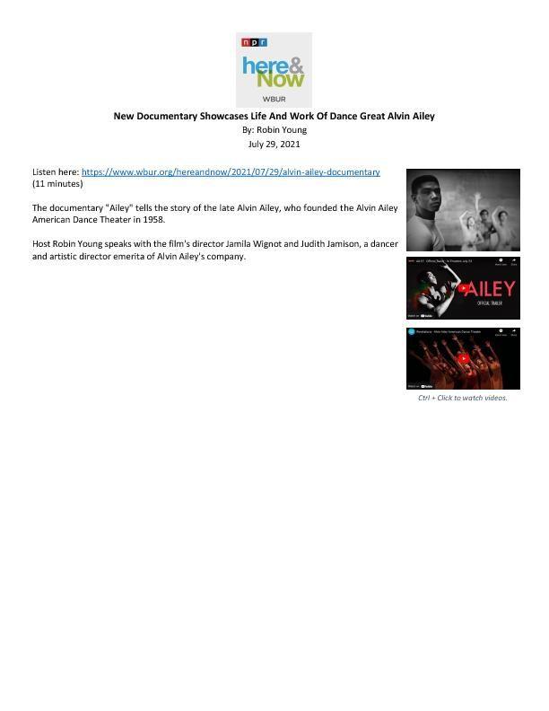 WBUR_NPR_HereAndNow_AAADT_AlvinAiley_AileyDocumentary_JudithJamison_JamilaWignot_Feature_Broadcast_7.29.21