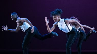 Alvin Ailey American Dance Theater's Solomon Dumas, Samantha Figgins, and Belen Indhira Pereyra in Robert Battle's For Four