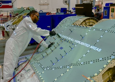 Photo Release -- Northrop Grumman Delivers Work Instructions With Light on F-35 Assembly Line