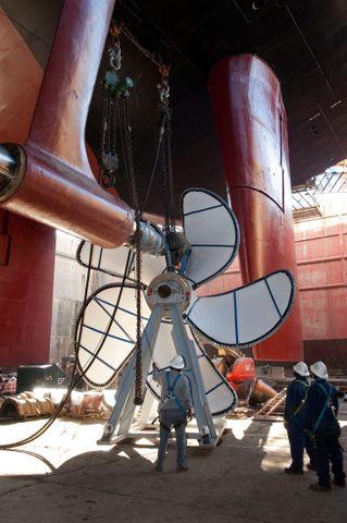 USS Theodore Roosevelt Propeller Installation