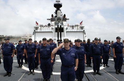 USCGC Bertholf crew salute