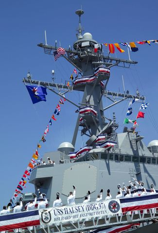 USS Halsey Hat Salute