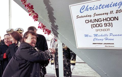 Christening of Aegis guided missile destroyer Chung-Hoon (DDG 93)