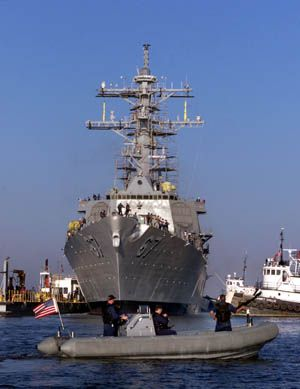 USS Cole launched back into the water. (d=20256)