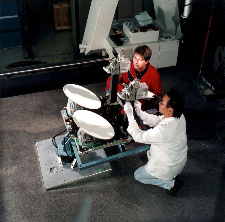 Northrop Grumman employees conduct tests of Milstar's dual use coverage antennas. Northrop Grumman photo