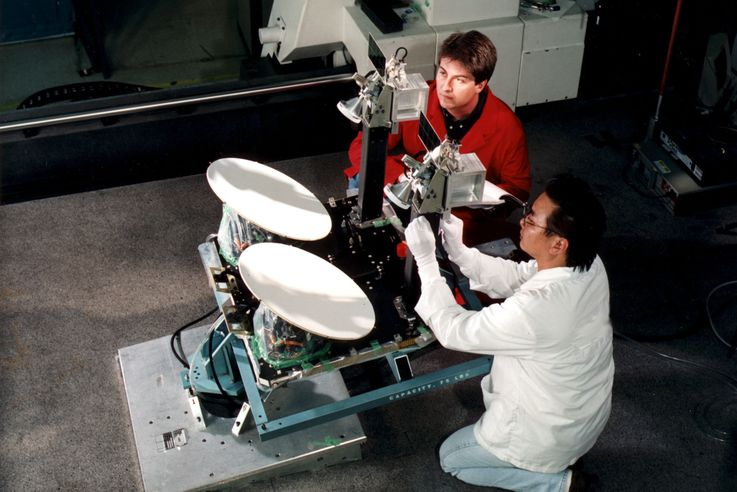 Northrop Grumman employees conduct tests of Milstar's dual use coverage antennas. Northrop Grumman photo