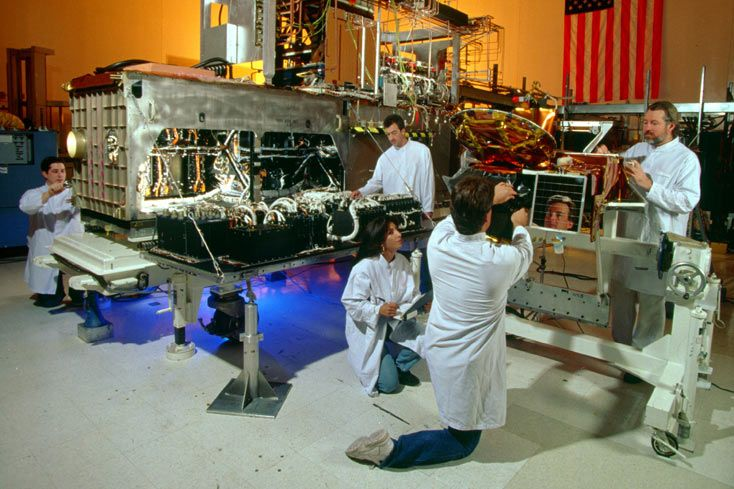 A Milstar payload undergoes integration and test at Northrop Grumman's facilities in Redondo Beach, Calif. Northrop Grumman photo
