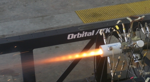 Orbital ATK conducts a live air-breathing solid rocket motor test in its new Ramjet Test Facility at ...