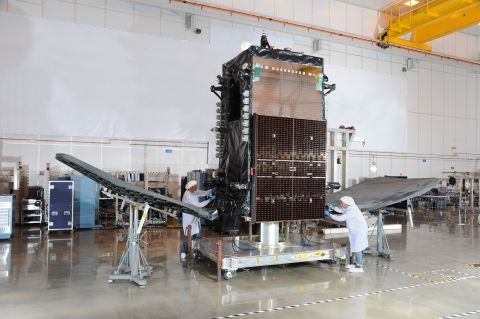 Orbital ATK Delivers DIRECTVs SKYM-1 Commercial Satellite to Launch Site
