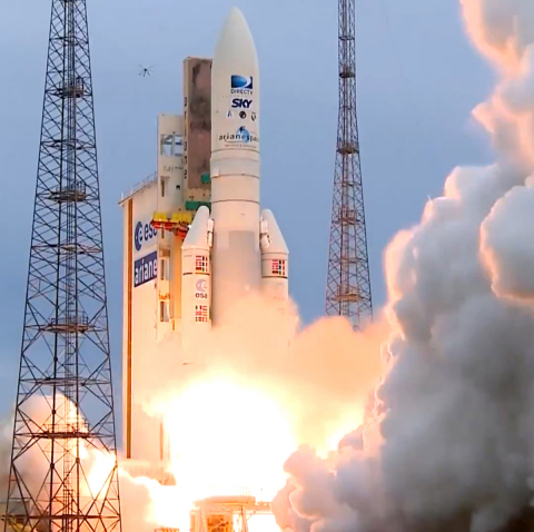 An Ariane 5 rocket lifts off on May 27 in French Guiana carrying the Orbital ATK built SKYM-1 commer ...