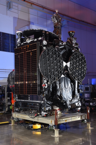 The GovSat-1 multi-mission satellite inside Orbital ATK   s satellite manufacturing facility in Dulles ...