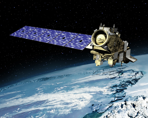 Artist rendering of NOAA's JPSS-2 spacecraft in orbit. Orbital ATK was awarded a $470 million contra ...