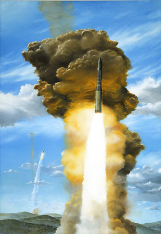 Glory Trip, Orbital ATK artist Mark Waki's painting of twin Minuteman III missiles launching from Va ...