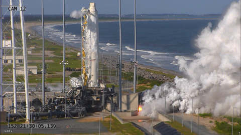 "Orbital ATK conducted a full-power ""hot fire"" test of the upgraded first stage propulsion system of  ..."