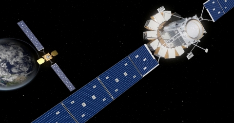 Artist rendering of Orbital ATK   s next generation of in-orbit satellite servicing technology, the Mi ...