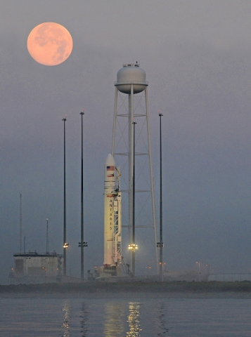 Orbital   s Antares rocket on the Mid-Atlantic Regional Spaceport (MARS) Pad 0A at NASA   s Wallops Flig ...