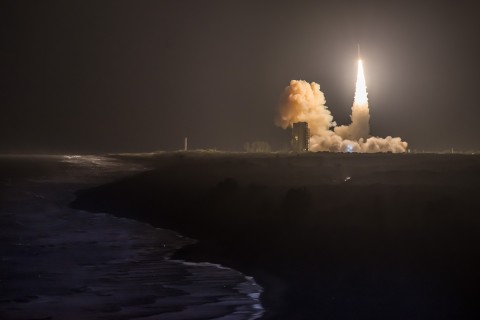 Orbital ATK's Minotaur IV rocket roars off from Space Florida's Launch Complex 46 carrying the ORS-5 ...