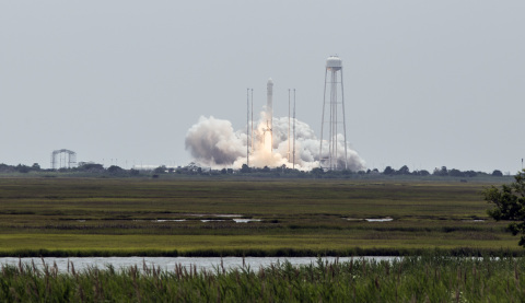 Orbital's Antares rocket lifts off from the launch pad at NASA's Wallops Flight Facility on July 13, ...