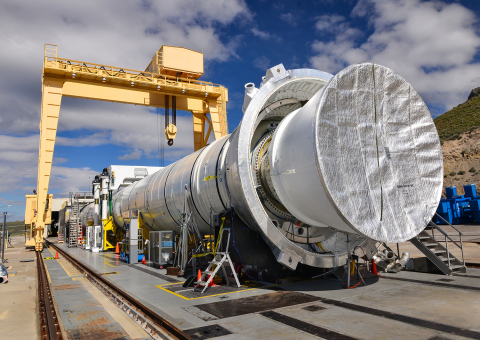 The five-segment solid rocket motor that will be used for NASA's Space Launch System has been instal ...