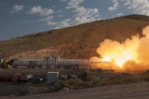 This Orbital ATK-manufactured, full-scale solid rocket booster qualification test motor blasted 3.6  ...