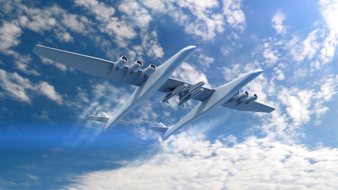 Conceptual rendering of the Stratolaunch Aircraft and the Orbital ATK Pegasus XL air-launch vehicles ...