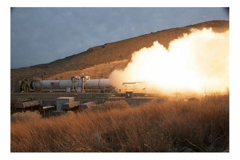 Orbital ATK's Five-segment Rocket Motor Static Test Fires Up