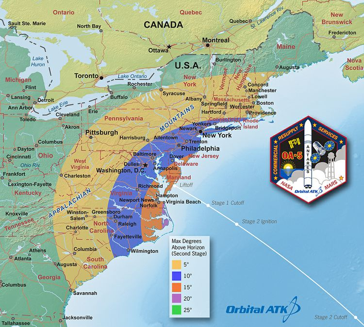 OA-5 Launch Viewing Map - Second Stage_med