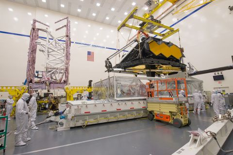Horizontal NASAs James Webb Space Telescopes Two Halves Powered for the First Time in One Building at Northrop Grumman