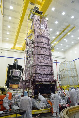 Vertical NASAs James Webb Space Telescopes Two Halves Powered for the First Time in One Building at Northrop Grumman