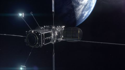 An artist rendering of the Mission Extension Vehicle docked to a client satellite.