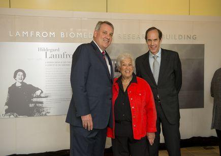 Photo of Gert Boyle, Joe Robertson, M.D., M.B.A., Brian Druker, M.D.