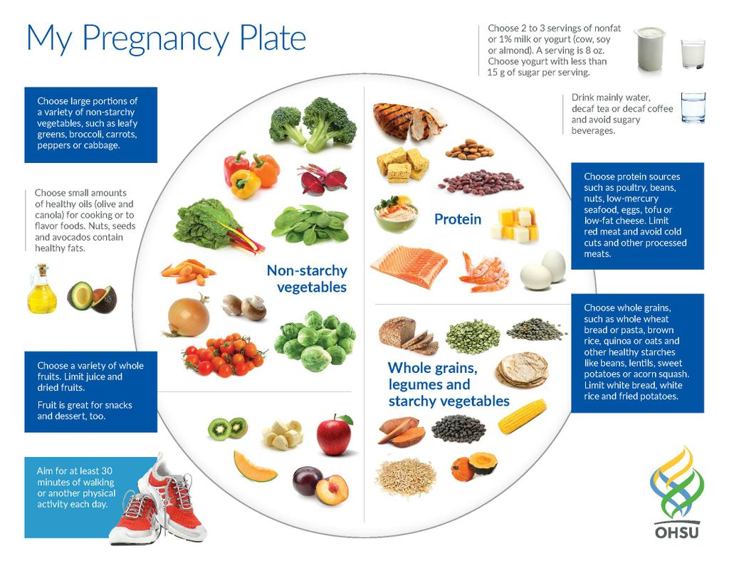 Graphic showing a plate showing the best things for women to eat while pregnant