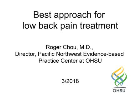 AUDIO DOWNLOAD: Roger Chou, M.D. on low back pain