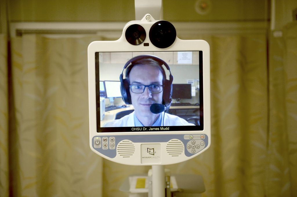 a telemedicine screen, with a doctor wearing a headset and communicating with patient through the device