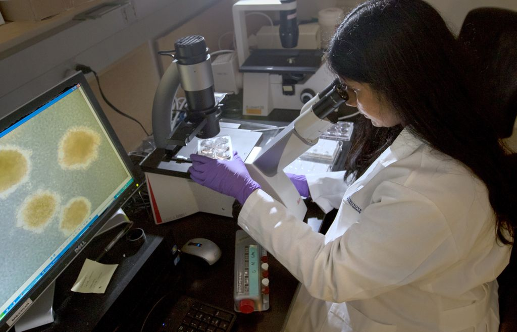 woman looking into microscope with images of cells on screen to her left