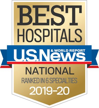 badge that reads best hospitals, u.s. news & world report, ranking in 6 specialties