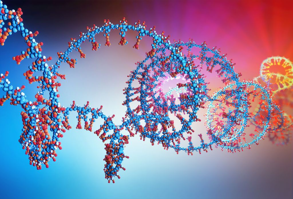 colorful swirling Illustration of part of RNA chain