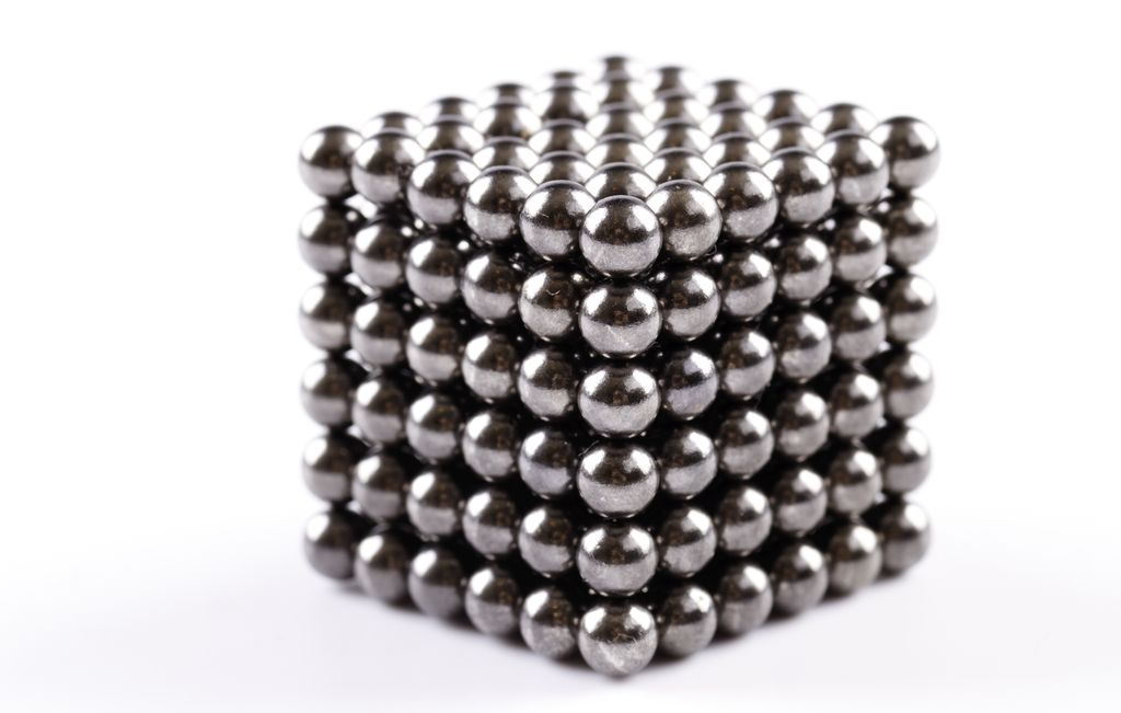 stack of shiny silver magnetic balls