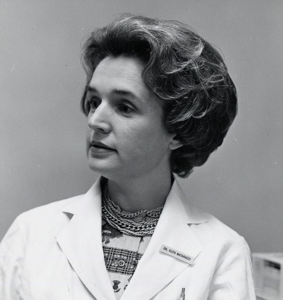 Black and white headshot of Dr. Ruth Matarazzo, a caucasian woman in a white lab coat