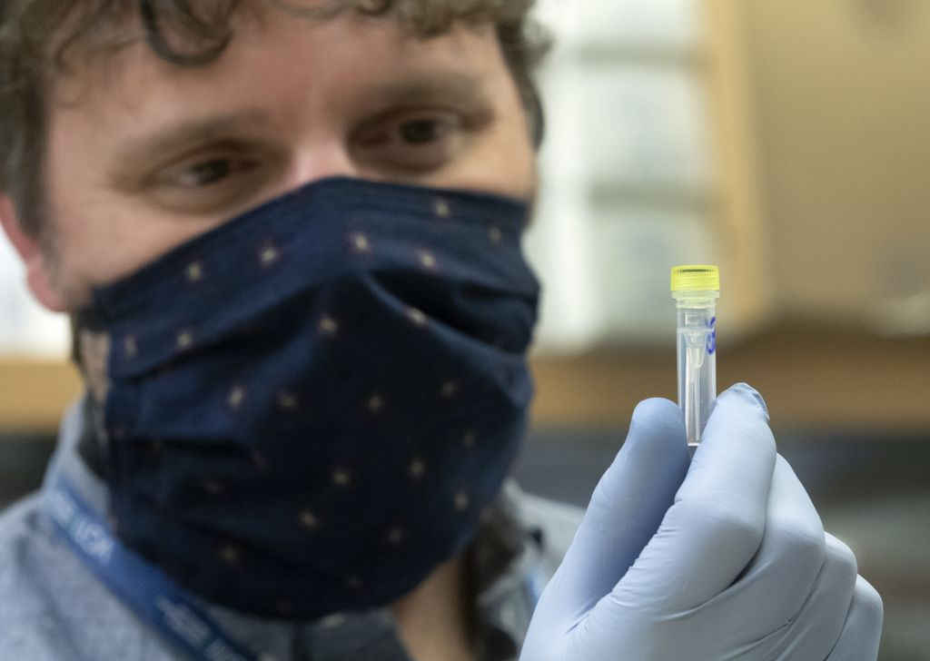 masked man, holding a vial and looking at it