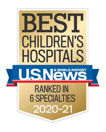 U.S. News & World Report gold badge with a blue banner across the center
