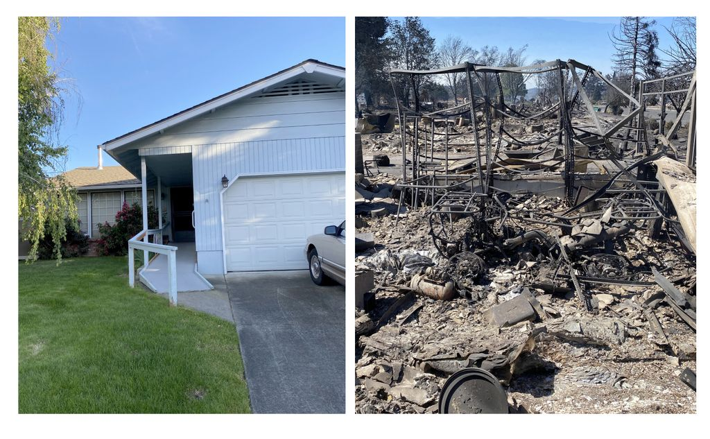 Side-by-side photos of: a white home with a lawn and blue sky (left), and; the burned remains of the same home