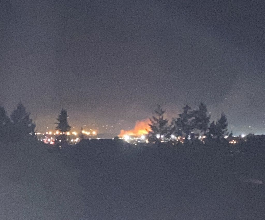 A wildfire burns along the horizon in the distance, with a dark sky; trees are seen in silhouette.